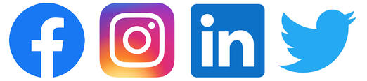 Logos of Facebook, Instagram, LinkedIn, Twitter