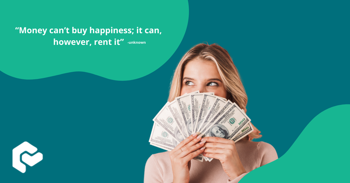 Woman holding money blue background with green blobs with quote