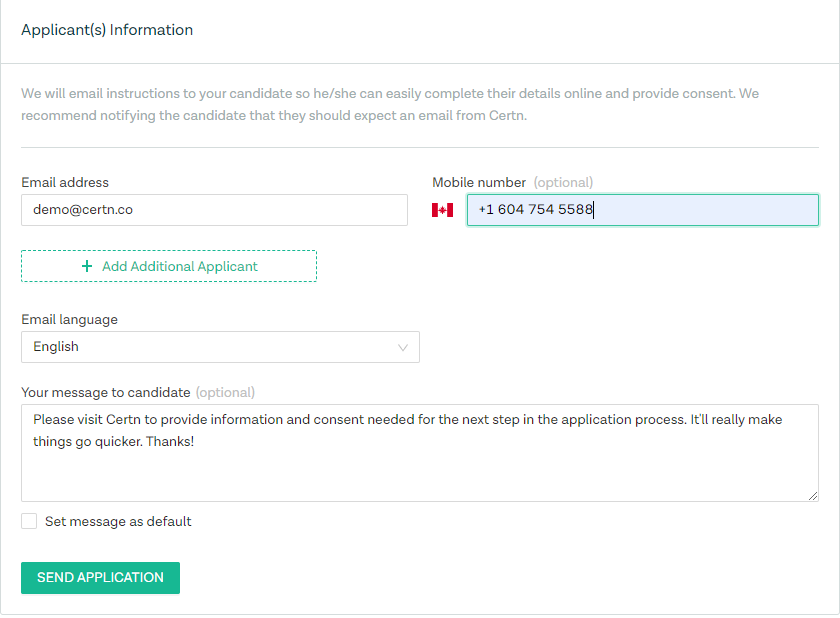 Certn Screen of Applicant filling information out