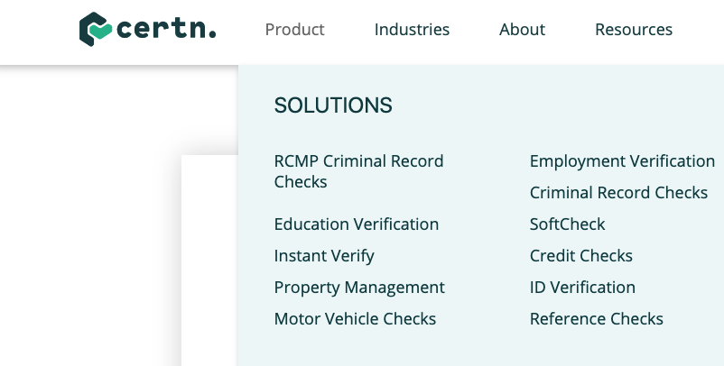 Type of Background checks drop down tab on Home page of Certn.co